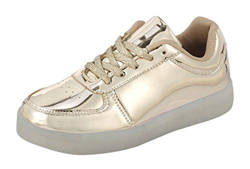 Kvinnor Casual Klassiska Plattforms Platt Spets-up Mode Oss Flagga Sneakers Rund Tå Oxford Gummisula Boot Skor Guld