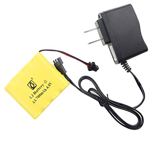 Fistone Rechargeable 4.8V 700mAh Nicd Battery Pack for RC Cars Rock Crawler Off-Road Vehicle Truck High Speed RTR Racing Car Buggy Monster Truck Construction Vehicle with Charging Cable SM 2P Plug