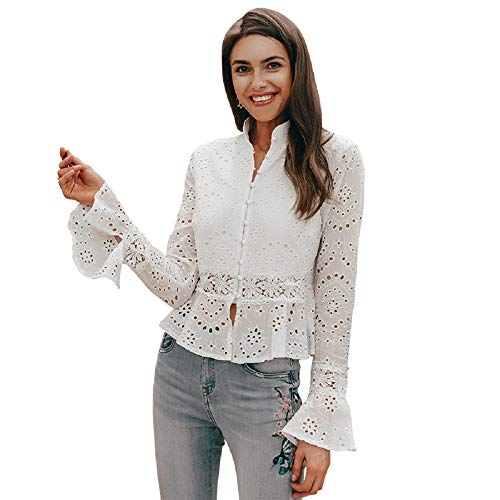 - Simplee Women's Tops Lace Hollow Out Long Flare Sleeve Button Down Stand Collar Crochet Peplum Blouse L White