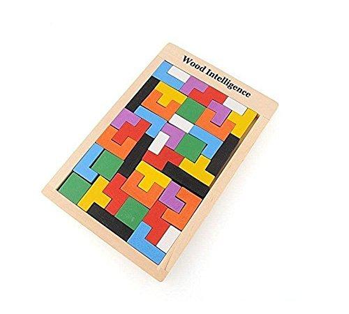 Wooden Tangram Jigsaw Building Blocks Game Tetris Puzzle Toy, 40 Pieces (Puzzle Pieces Games)
