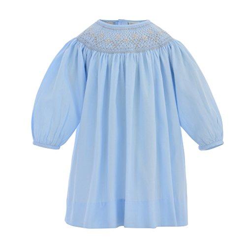 (Carriage Boutique Baby Girl Long Sleeve Bishop Dress - Pastel Blue, 24M (Infant))