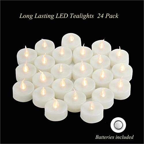 Battery Operated Flameless LED Tealight Candles Long Lasting Bright Flickering Electric Fake Tea Light Bulk for Home Garden Wedding Party Centerpiece Decorations Unscented 24 Set Batteries Included from Qidea