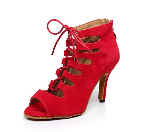 JSHOE Chaussures De Danse Pour Femmes Latin/Chacha/Samba/Moderne/Jazz Chaussures De Danse,Red-heeled8.5cm-UK5/EU37/Our38