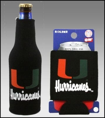 SET OF 2 MIAMI HURRICANES CAN & BOTTLE KOOZIE COOLER (Miami Kitchens Outdoor)