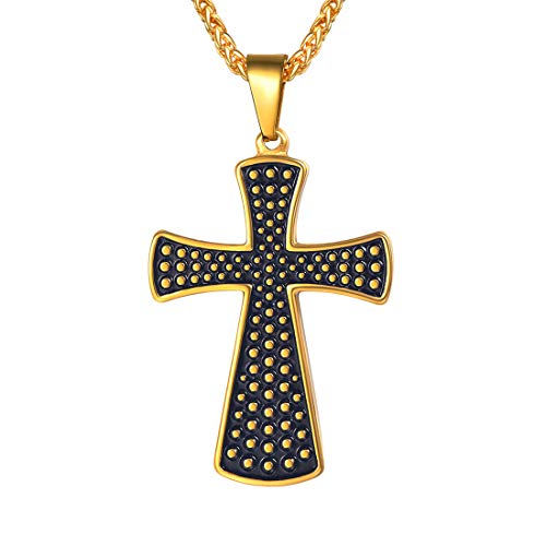 (U7 Thick Christ Cross Pendant Necklace Vintage Antique Style 18K Gold Plated Stainless Steel Chain Black Enamel Dotted Simple Cross Jewelry)