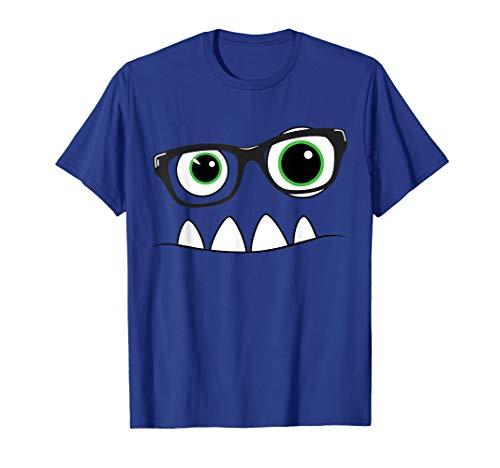Monster Face Nerd Halloween Costume T Shirt Funny Kids -