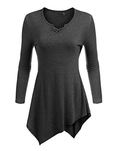 Aceshin Women's Knit Scoop Neck Long Sleeve Hankerchief Hem Tunic Top Dress Dark Gray M (Dress Sweater Neck Knit Scoop)