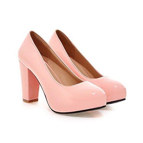 AllhqFashion Damen Ziehen auf Hoher Absatz PU Leder Rein Rund Zehe Pumps Schuhe Pink