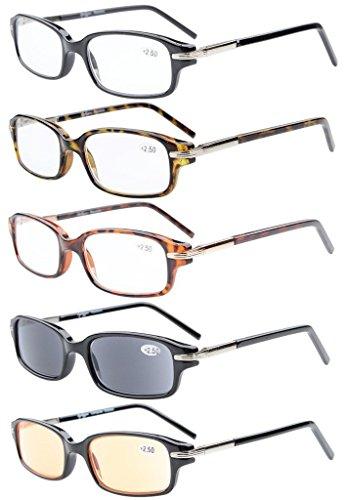 5-Pack Spring Temple Readers Include Reading Glasses Sunshine Readers Computer Glasses Men +2.0