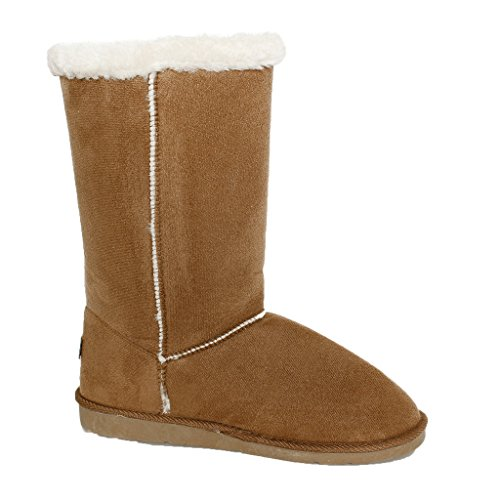 WOMENS LADIES GIRLS FLAT LOW HEEL LACE FUR LINED SNOW WINTER CALF BOOTS SIZE RRIC9Y6O