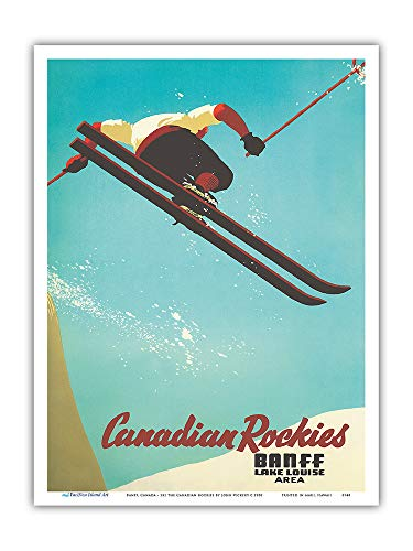 Pacifica Island Art - Banff, Canada - Lake Louise - Ski The Canadian Rockies - Canadian Pacific - Vintage Railroad Travel Poster by John Vickery c.1938 - Master Art Print - Pacific Ski