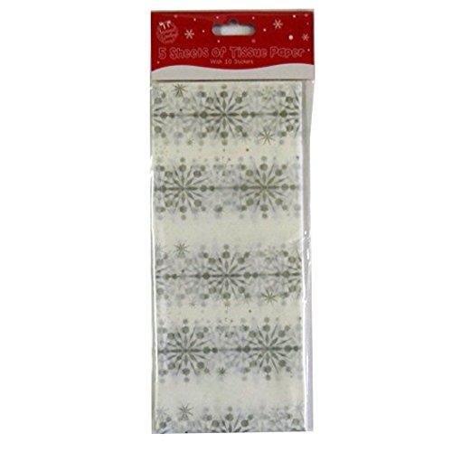 fiocco di neve dargento Natale Stampato Carta Velina 5 fogli Bianco 680mm x 500mm e 10 Adesivi