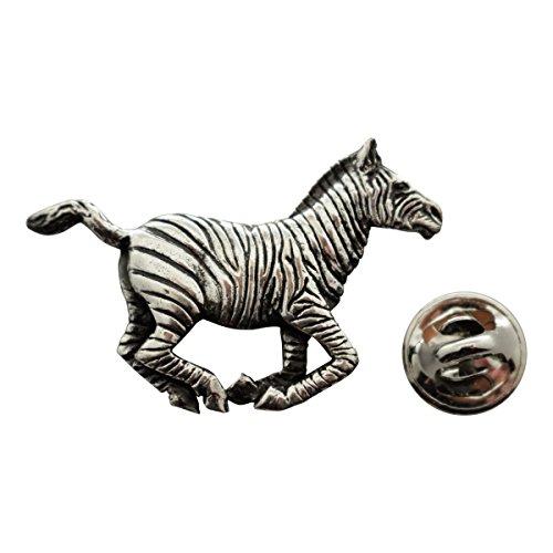 Sarah's Treats & Treasures Running Zebra Pin ~ Antiqued Pewter ~ Lapel Pin