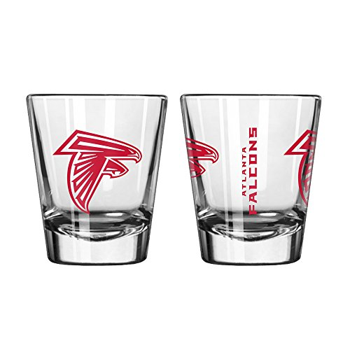 Official Fan Shop Authentic NFL Logo 2 oz Shot Glasses 2-Pack Bundle. Show Team Pride at home, your Bar or at the Tailgate. Gameday Shot Glasses for a goodnight (Atlanta Falcons) ()
