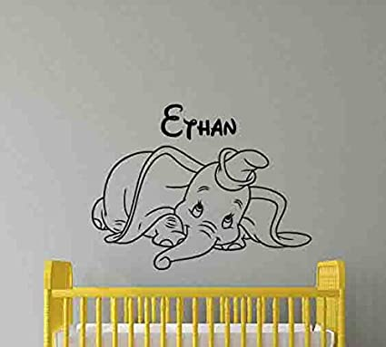 Personalized Dumbo Wall Decal Custom Name Baby Walt Disney Elephant Quote Lettering Vinyl Sticker Living Room