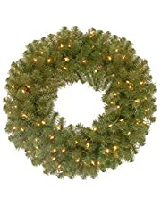 National Tree Company Pre-lit Artificial Christmas Wreath   Includes Pre-Strung Multi-Color LED Lights   North Valley Spruce - 24 Inch