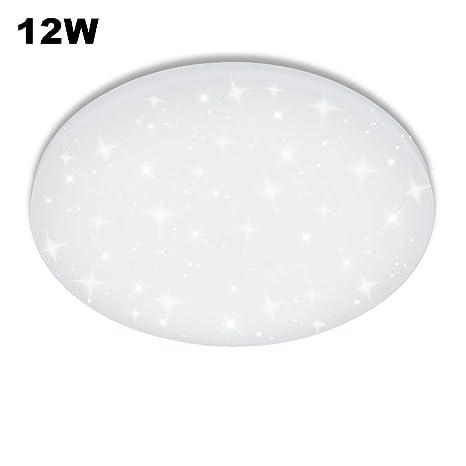 Vgo plafón LED salón lámpara de cocina Starlight efecto techo (12W Redonda Blanco Frío)