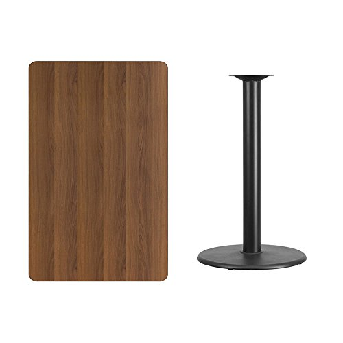 48' Round Dining Table (30'' x 48'' Rectangular Walnut Laminate Table Top with 24'' Round Bar Height Table Base)