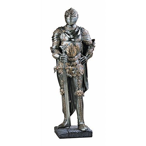 Design Toscano The King's Guard Medieval Decor Half Scale Knight Armor Gothic Statue, 39 Inch, Polyresin, Two Tone Metallic