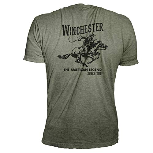 Winchester Official Men's Vintage Rider Graphic Printed Short Sleeve T-Shirt (4XL, Charcoal) (Four Seasons Tee)