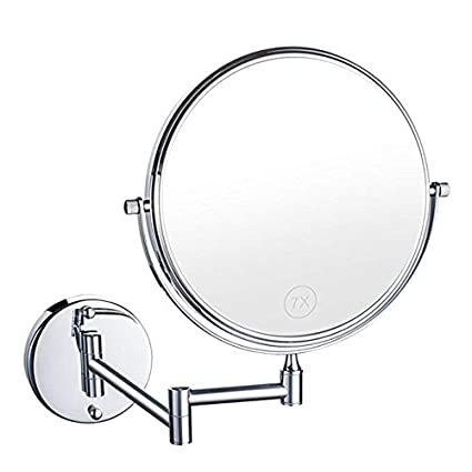Bathroom Vanity Magnifying Mirror, Makeup Round Wall Mounted 8 inch Double-Sided Cosmetic Mirror Swivel, 360° Rotatable Extendable Arm Bath, Spa Hotel (7X) AORAEM Vanity Mirrors 7x