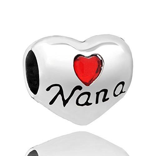 CharmsStory Heart I Love You Family Nana Charms Beads Charm Compatibles For Bracelets (NANA 2) Special Nana Heart Charm