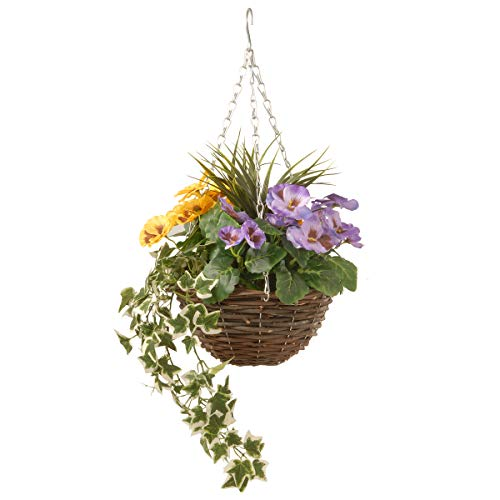 National Tree Pansy and Ivy Hanging Basket, 14 Inch, Multi