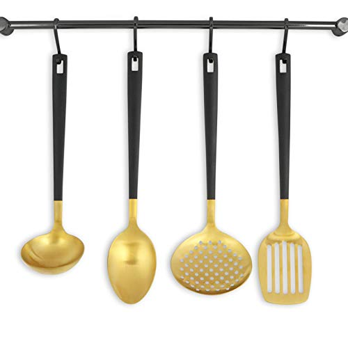Black and Gold Utensil Set for Cooking and Serving, Stainless Steel Serving Utensils include - Black and Gold Metal Ladle, Skimmer, Serving Spoon, Turner: Gold Serving Sets