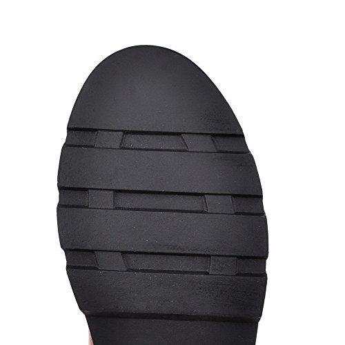 AgooLar Damen Ziehen auf Spitz Zehe Niedriger Absatz Blend-Materialien Rein Stiefel Weinrot