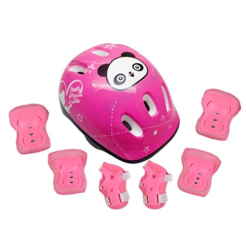 Kids Sports Safety Protective Gear Set, RuiyiF Set of 7 Butterfly Elbow Pad Knee Pads Wrist Guard Helmet for Scooter Skateboard Skating Blading Cycling Riding Pink