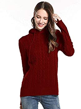 Teeker Women Long Sleeve Knitted Pullover Drawstring Hoodie Sweater