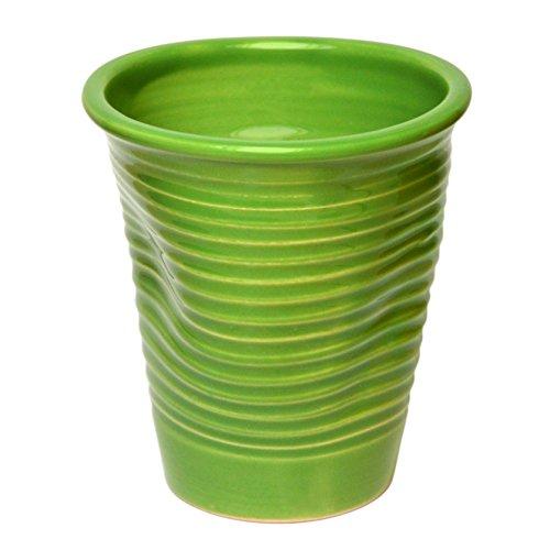 Govinda Crafts, Handmade White Coffee Mug, 7.4 ounce, Crumple Tumbler (Green) (White Mug No Handle)
