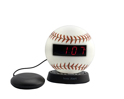 Sonic Alert The Sonic Glow Extra Loud Baseball Themed Recordable Alarm Super Shaker - SBW100BBSS