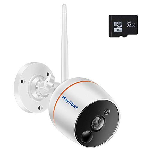 Wireless Security Camera Surveillance System with Motion Detection and Audio for Home Outdoor Indoor, Smart 2.4GHz WiFi 2MP Bullet IP Camera with iOS Android APP, Pre-Installed 32GB SD Card Record