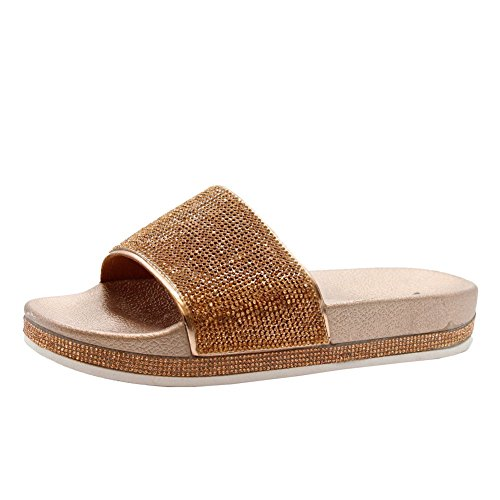 3 On Champagne Rose Sliders Summer STYLES Slip Sparkly Gold Womens Sandals Mules Rubber SAUTE 8 Ladies Size Diamante Shoes 86wnBHqR