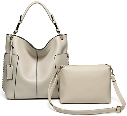 Hobo Bag Purse for women,Vaschy Faux LeatherConvertible Top Handle Handbag Shopper Tote with Small Crossbody Shoulder Bag Beige