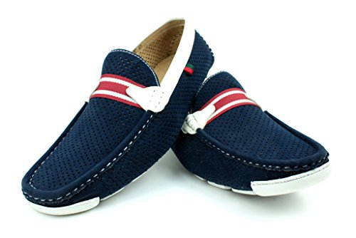 Nuevo Para Hombre Casual Zapatos Vestido Scans Pantuflas Sin Cierres Azul marino Mocasines GB