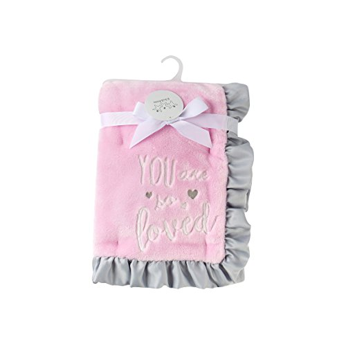 Fleece Satin Baby Blanket (Kiki & Anna Soft Plush Two layer baby blanket with satin raffle trim for girl gift (30
