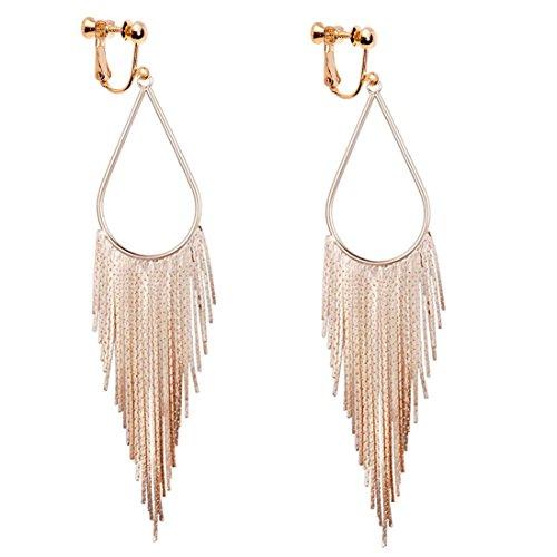 Dangle Long Tassel Women Clip on Earrings Tear Drop Chandelier Styled Gold Plated Fashion Jewelry Banquet