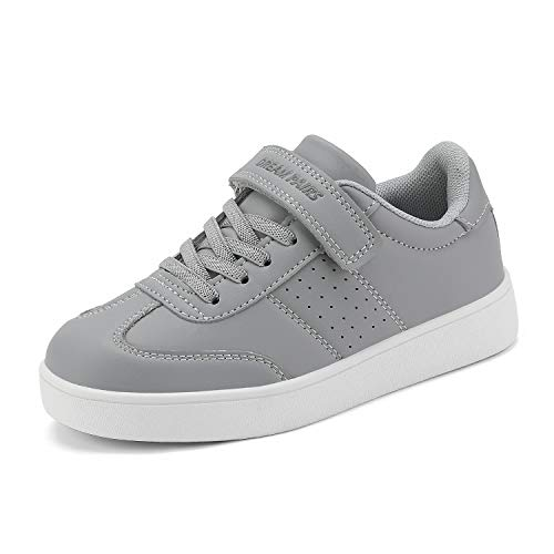 DREAM PAIRS Boys Girls Grey School Sneakers Hook and Loops Shoes Size 11 M US Little Kid Alfier (Best Affordable Basketball Shoes 2019)