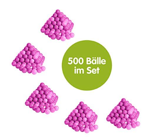 KNORRTOYS.COM Knorrtoys 56800 - 500 Bälle in Tollem Rosa und Pink Ohne gefährliche Weichmacher Ø6 cm - TÜV Zertifiziert