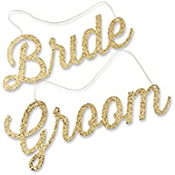 Kate Aspen Gold Glitter Bride and Groom Chair Signs, Chair Backers, Wedding Decoration