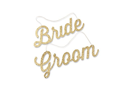 Kate Aspen Gold Glitter Bride and Groom Chair Signs (Bride And Groom Signs)