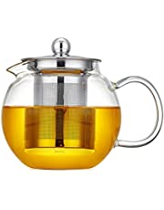 Glass Teapot with Removable Infuser Glass Tea Maker Infusers Holds 2-3 Cups Loose Leaf Iced Blooming or Flowering Tea Filter Stovetop Safe Teapot Kettle