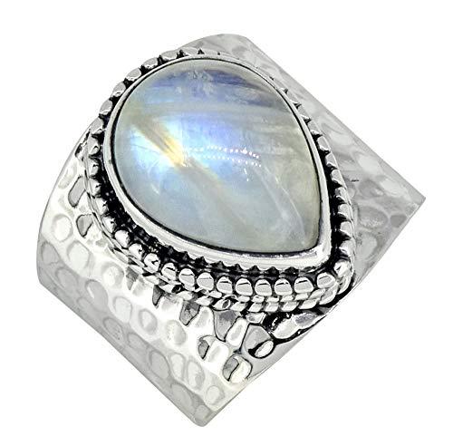 YoTreasure Rainbow Moonstone Solid 925 Sterling Silver Teardrop Ring (Ring Solid Crystal)