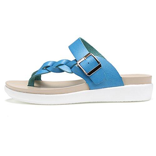 Z.SUO Damen Leder Mode Flip Flop Hausschuhe Zehentrenner Sandalen Blau