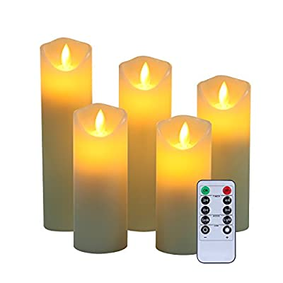 """Flameless Candles, 5"""" 6"""" 7"""" 8"""" 9"""" Set of 5 Real Wax Not Plastic Pillars Include Realistic Dancing LED Flames and 10-key Remote Control with 2/4/6/8-hours Timer Function,300+ Hours -YIWER (5x1, Ivory)"""