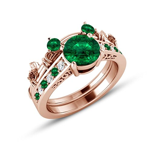 1.50 Carats Green - 1.5ct Green Emerald & CZ Diamond 2pcs 14K Rose Gold Plated Classic Look Mickey Mouse Engagement Bridal Ring Sets For Women's Jewelry Alloy