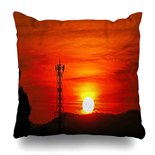 Ahawoso Throw Pillow Covers Evening Red Antenna Scenic When Sunrise Over Mountain Pattern Nature Broadcast Cell Cellular Design Home Decor Zippered Pillowcase Square Size 18 x 18 Inches Cushion Case