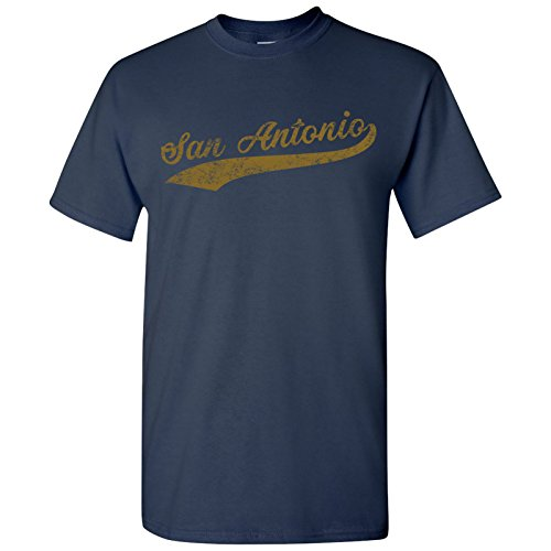 San Antonio City Baseball Script Basic Cotton T-Shirt - Large - Navy ()